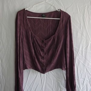 Wild Fable Purple Button Up Crop Top (XXL)